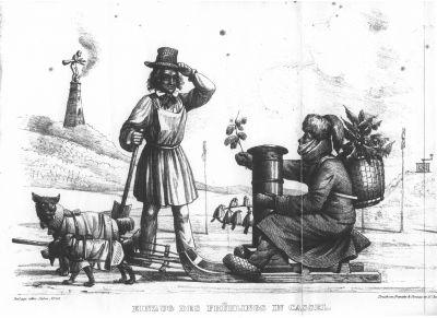 """Karikatur in """"Der Salon - ein Unterhaltungsblatt für Gebildete"""", 1842"""